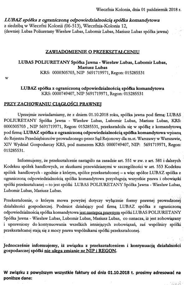 Przekształcenie spółki Lubas Poliuretany