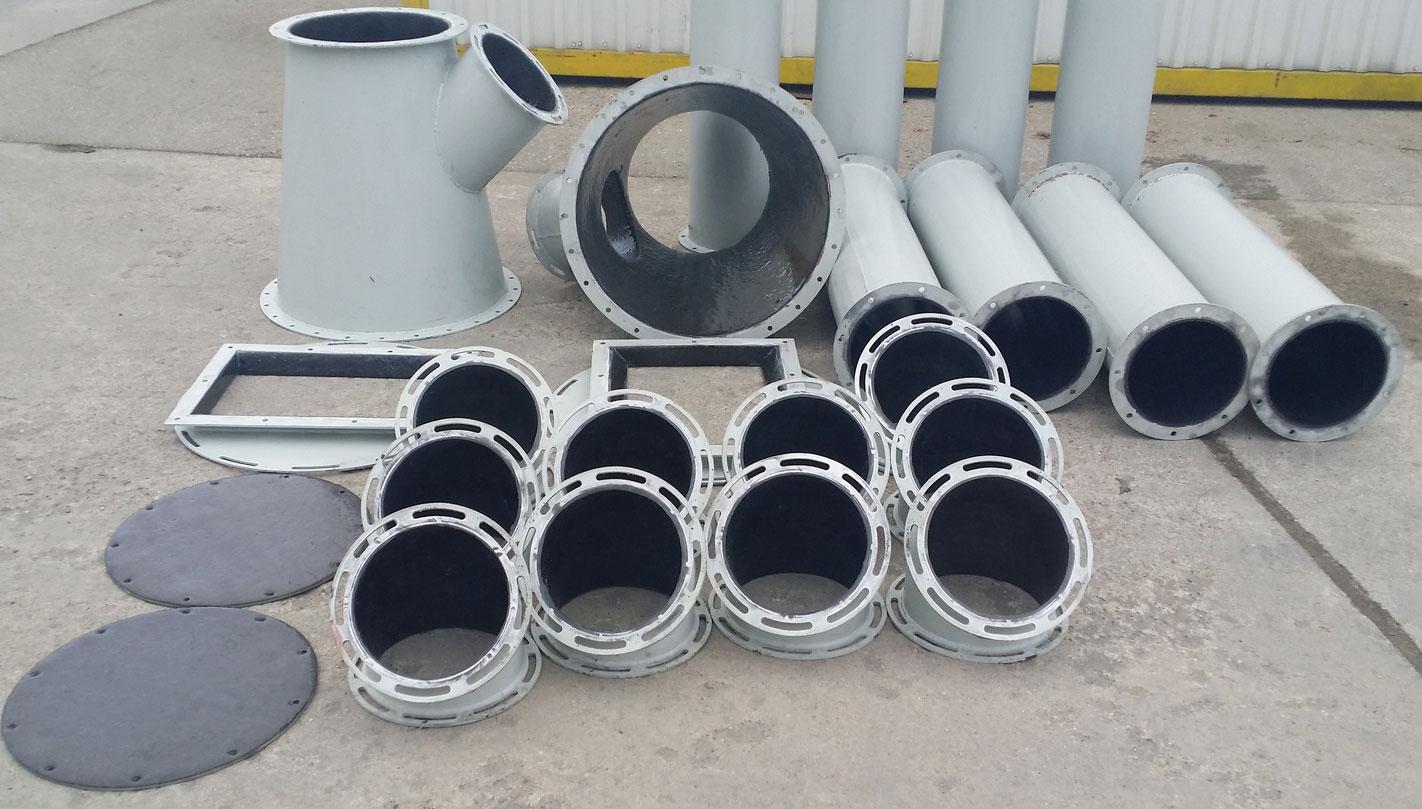 Potrubí, kolena, děliče s povlakem L-PUR
